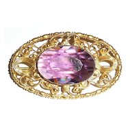 Large Victorian Gilt Brooch Purple