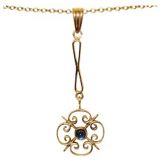 Vintage Lavalier Pendant Necklace Blue Stone
