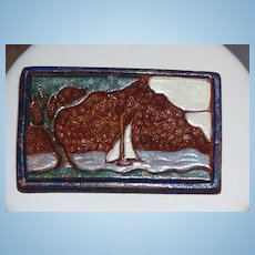 Vintage Tooled and Painted Leather Brooch Sailboat
