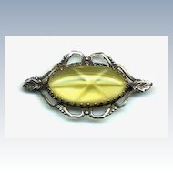 Vintage Sterling Pin Lemon Color Stone
