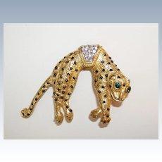 Vintage Golden Leopard Brooch Tail Moves