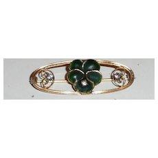 Vintage Green Enamel Flower Pin
