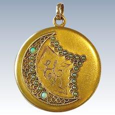Victorian Crescent Moon Locket Opals Cultured Pearls