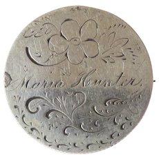 Love Token Coin Brooch Victoria Dei Gracia Regina