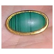 Gold and Malachite Victorian Brooch Pin