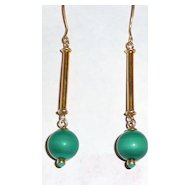 Beautiful Malachite Ball Drop Earrings with Wires