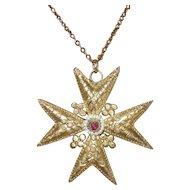 Georgian Maltese Cross Cannetille Pendant