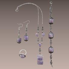 Art Deco Sterling Marcasite Amethyst Parure Ring Necklace Bracelet Earrings