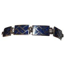 Margot de Taxco Enamel Geometric Sterling Bracelet