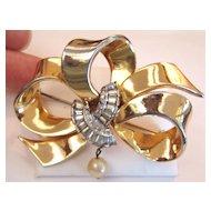 Mazer Ribbon Bow Pin or Brooch