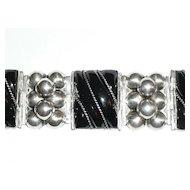 Early Mexico Silver Wide Onyx Bracelet