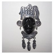 Vintage Mexican Carved Face Pin