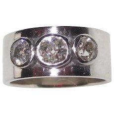 Genuine Old Mine Cut Diamonds 14K Wide Band Ring