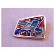 Modern Silver Enamel Pin