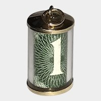 Emergency Break Glass With 1 Pound British Note Inside 9K Gold Vintage Charm