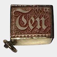 Case of Emergency Break Glass Money Box With 10 Pound British Note Inside 9K Gold Vintage Charm