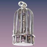 Adorable Monkey in a Cage Silver Charm Handmade