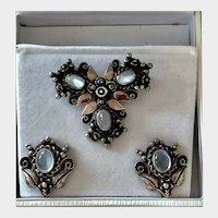 Vintage Moonstone Brooch and Earrings Sterling