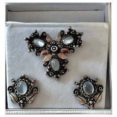 Vintage Moonstone Brooch and Earrings Sterling