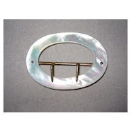 Vintage Belt Buckle Mother of Pearl