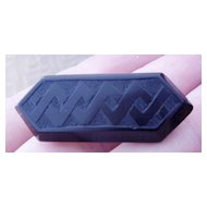 Jet Mourning Brooch or Pin Geometric Pattern