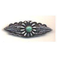 Coin Silver Turquoise Brooch