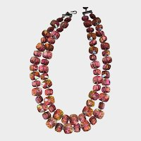 Beautiful Pink Crystal Necklace Vintage