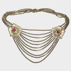 Large Vintage 1930s Festoon Necklace Brass