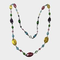 Vintage Flapper Multi Colored Beads Necklace