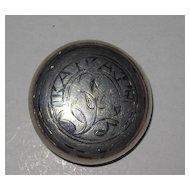 Vintage Russian Hallmarked Silver Niello Collar Button