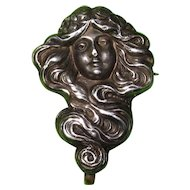 Art Nouveau Watch Pin Lady With Flowing Hair