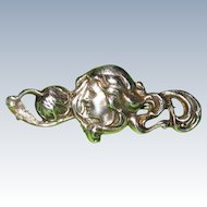 Art Nouveau Brooch Girl With Flowing Hair