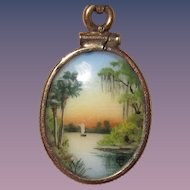 "Rare Olive Commons Miniature Florida Painted Porcelain ""Cameona"""