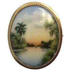 "Rare Olive Commons Miniature Florida Painted Porcelain ""Cameona"""