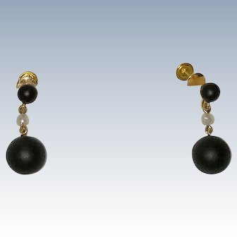 14K Victorian Mourning Earrings Onyx Cultured Pearl Drops