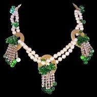 Handmade Parure Faux Pearls Green Glass Leaves Necklace Bracelet Earrings