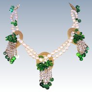 Handmade Parure Faux Pearls Green Glass Leaves Necklace Bracelet Earrings
