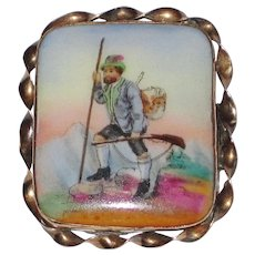 Victorian Painted Porcelain Brooch Hunter Scene