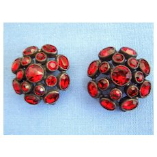 Pair Vintage Red Crystal Brooches