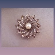 Antique Paste Sterling Watch Holder Pin Genuine Pearl