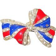 Patriotic Vintage Bow Brooch