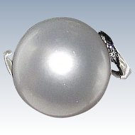 Sale Estate South Sea White Pearl 12mm Round Platinum Ring