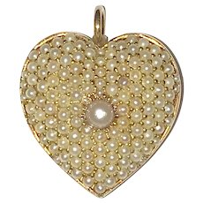 Antique 14K Yellow Gold Cultured Pearls Heart Brooch or Pendant
