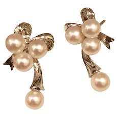 Cultured Pearl Earrings Bows