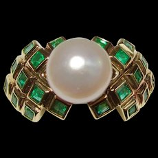 Estate 7mm Round Cultured Pearl 14K Ring Emeralds Setting
