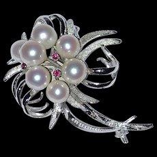 Vintage Silver Pearls Rubies Brooch