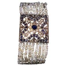 Belle Époque Circa 1900 14K Gold Cultured Pearls Sapphires Bracelet Earrings
