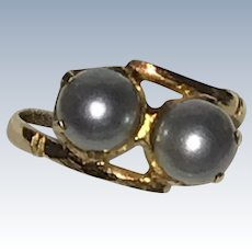Vintage 18K Gold Gray Cultured Pearls Ring