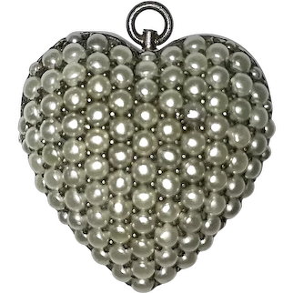 Victorian Sterling Cultured Pearls Brooch Pendant Large