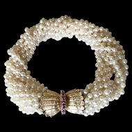14K Ruby Clasp Retro Cultured Pearls Torsade Bracelet